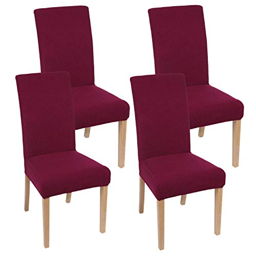 smiry Chair Covers for Dining Room, Stretch Jacquard Dining Room Chair Covers, Removable Washable Parsons Chair Slipcovers Set of 4, Wine Red