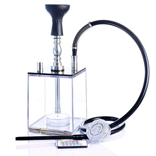 CLLOE Hookah Acrylic Shisha con la Barra de luz LED Tubería de Agua Cuadrado Conjunto Completo de la Manguera de la cachimba Pipa de la casa portátil para Shisha