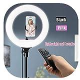 Kathariiy LED-Lampe, tragbar, dimmbar, 36 cm, mit Stativständer, Handy-Halterung für Live Stream, YouTube, Video oder Make-up Schwarz -