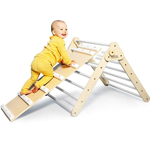 DomusJunior Pikler Triangle for Toddler with Slide – Climbing Triangle Folds Flat for Easy Storage – CPSIA Certified for Maximum Safety – Kids Climber Made Specifically for Babies and Toddlers