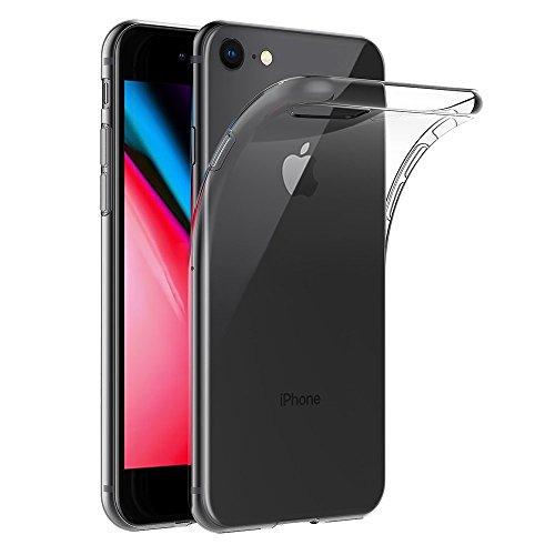 REY Funda Carcasa Gel Transparente para iPhone 8   iPhone 7   iPhone SE 2020, Ultra Fina 0,33mm, Silicona TPU de Alta Resistencia y Flexibilidad