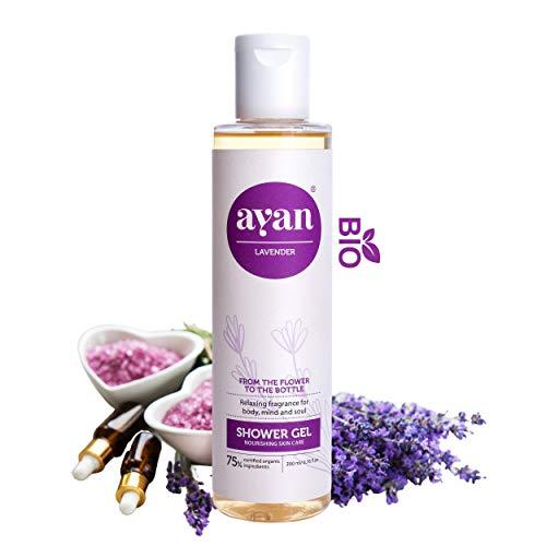 AYAN Naturkosmetik Wellness Duschgel stark basisch pH: 9,5-10,5 mit Bio Lavendelöl, Kokosöl Frische, Entspannung und Pflege 200ml - rein natürlich, ohne Parabene in Bioqualität
