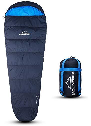 MOUNTREX® Schlafsack - Warm & Leicht (1500g) – 3-4 Jahreszeiten Schlafsack (300GSM) - Outdoor Mumienschlafsack (205x75cm) für Camping, Reise, Erwachsene - Kompaktes Packmaß (36x20cm) - Koppelbar