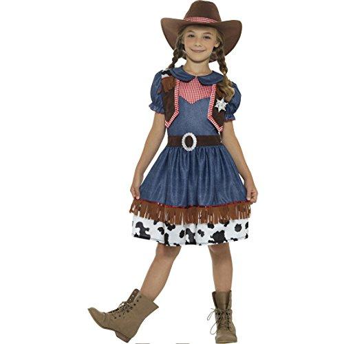 Amakando Wilder Westen Kinderkostüm - S, 4 - 6 Jahre, 115 - 128 cm - Cowboy Mädchenkostüm Karnevalskostüm Wild West Western Lady Verkleidung Faschingskostüm Texanerin Cowgirl Kostüm