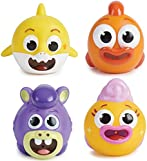 WowWee Baby Shark's Big Show! Bath Squirts – Squishy Toys for Toddler and Baby Bathtub Fun – Official Baby Shark Bath Toys (4-Pack)
