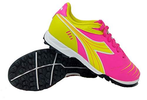 Diadora Cattura tf jr Rasen-fußball-Schuh (4,5 Big Kid, neon pink/Neongelb) für Kinder