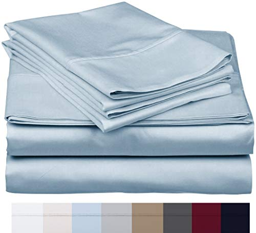 600 Thread Count 100% Long Staple Soft Egyptian Cotton SheetSet, 4 Piece Set, QUEEN SHEETS,upto 17' Deep Pocket, Smooth & Soft Sateen Weave, Deep Pocket, Luxury Hotel Collection Bedding, SKY BLUE