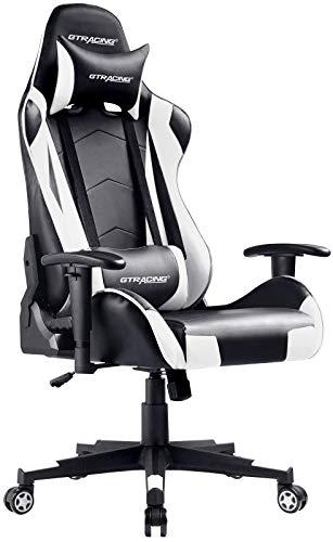 GTRACING Gaming-Stuhl Racing Büro Computer Gaming-Stuhl Ergonomische Rückenlehne und Sitzhöhenverstellung Lehnstuhl Drehwippe mit Kopfstütze und Lendenkissen E-Sportstuhl (weiß)