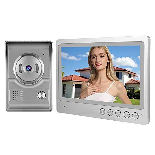 Videoportero Videoportero 9 pulgadas Monitor LCD Cámara de visión nocturna Kit de timbre con cables de conexión para apartamento de oficina en casa, tono de llamada de 12 acordes(UE)