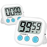 Blossmfree Kitchen Timer, 2 Pack Large Digits Classroom Timer for Kids,Simple Operation Magnetic Timers, Digital Timer for Cooking -White