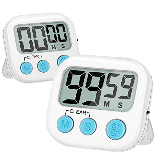 Blossmfree Kitchen Timer, 2 Pack Large Digits Classroom Timer for Kids,Simple Operation Magnetic Timers, Digital Timer for Cooking -White Arizona