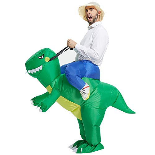 TOLOCO Inflatable Dinosaur T-REX Costume | Inflatable Costumes for Adults| Halloween Costume | Blow Up Costume (Green Dinosaur Adult)