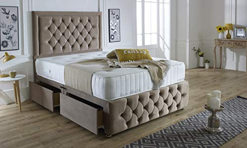 ComfoRest, Bedding & Upholstery Innovation Leader Mink Plush Velvet Sara Plus Divan Set With 54' Sara Headboard, Vertical Line Memory Spring Mattress And 4 Drawers (4FT - Small Double)