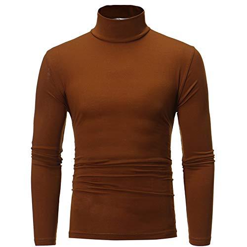 Maryia Men's Casual Slim Fit Lightweight Interlock Knit Mock Turtleneck Shirt Long Sleeve Pullover Tops T-Shirt Coffee