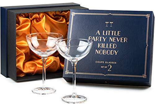 Vintage Crystal Champagne Coupe Glasses | Set of 2 | 4-5 oz Classic Cocktail Glassware - Martini, Manhattan, Cosmopolitan, Sidecar, Daiquiri | 1920s Speakeasy Retro Style Saucers | Storage Box -  Say Ho Um