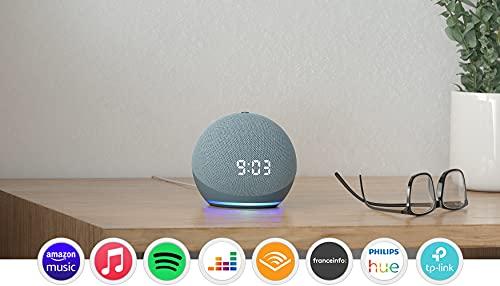 Echo Dot (4e génération), Enceinte connectée avec horloge et Alexa, Bleu-gris