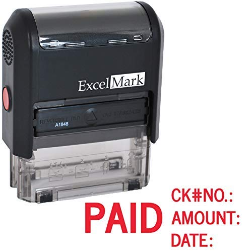 Paid with Check No, Amount, Date - ExcelMark Self Inking Rubber Stamp - A1848