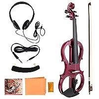 4/4 エレクトリック バイオリン、しっかりとした正確なトーンのエレクトリック バイオリン、プロの一般的な目的の学生の初心者のためのプロの使用(red)