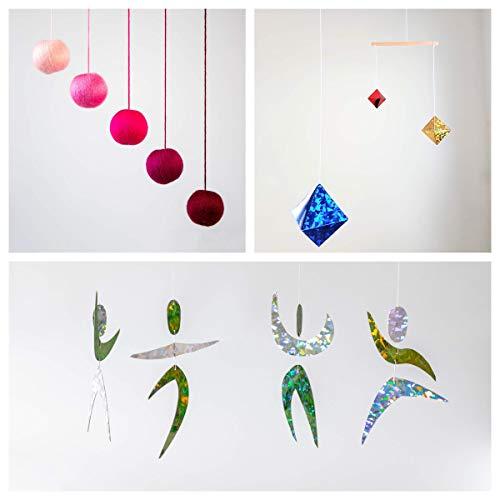 Set of 3 Montessori inspired mobiles - Pink Gobbi, Dancers, Octahedron. Montessori mobile. Baby mobile. Hanging mobile. Crib toy.