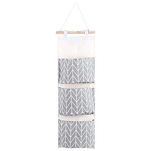 3 zakken katoen linnen hangende opbergtassen, wanddeur kast opbergtas, hangende tas organizer voor slaapkamer thuiskantoor (3 kleuren)
