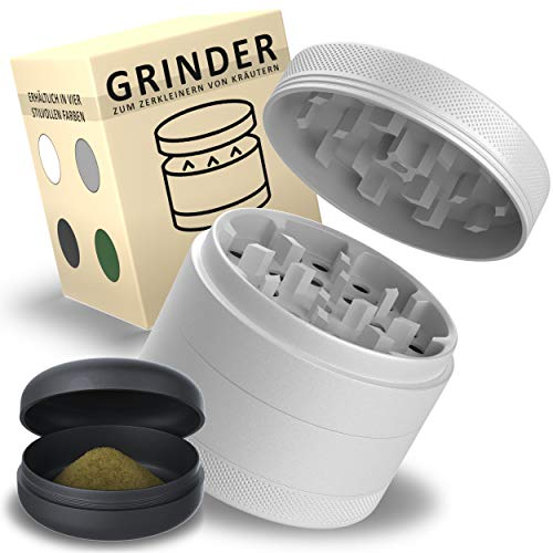 Liebspecht® Premium Keramik Grinder [PROFI-SET] - Hochwertige Nano Keramik Beschichtung - Großer Grinder 4-lagig - Ø 63 mm - Crusher inklusive stabile Metalldose - Haftfrei - Luftdicht - Wasserdicht