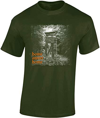 Jäger T-Shirt: Home Sweet Home - Geschenk für Jäger - Jägerbekleidung Jagdkleidung Herren - Geschenke für Männer - Jagd Tshirt - Hirsch Eber Grill BBQ Army Hunter Waidmannsheil (Army L)