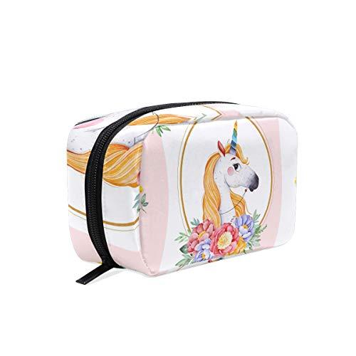 Trousse de maquillage Pochette trousse de maquillage à rayures Prince Unicorn Floral
