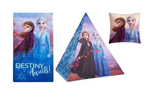Disney Frozen 2 Sleepover Set with Tee Pee Tent, Sleeping Bag & Pillow Featuring Anna & Elsa