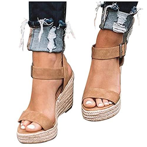 riou Sandalias Mujer Plataforma Verano 2021,Cuña Zapato Hebilla Punta Abierta Plano Zapatos Bohemias Romanas Hebilla Zapatillas-Variedad de Estilos