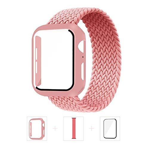 Caso + Correa Aplicar a Apple Watch Band 44mm 40mm 42mm 38mm Nylon Bella elástica Pulsera Iwatch Series 3 4 5 SE 6 Correa de Bucle Solitario Trenzado (Band Color : Pink Punch, Size : 38mm)