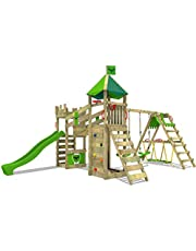 FATMOOSE Speeltoestel voor tuin RiverRun met schommel SurfSwing en appelgroene glijbaan, Houten speeltuig, Klimtoestel voor buiten met zandbak en klimladder voor kinderen