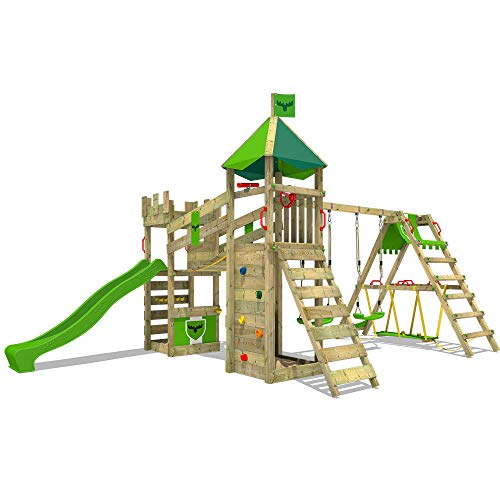 FATMOOSE Parco giochi in legno RiverRun Giochi da giardino con altalena SurfSwing e scivolo verdemela, Casetta da gioco per l'arrampicata con sabbiera e scala di risalita per bambini