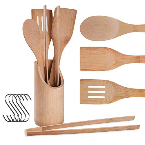 Bamboo Kitchen Utensils Wooden Cooking Utensils with Holder Wooden Spatulas and Cookware Set Bamboo Spoons for Cooking (included hook) 4set