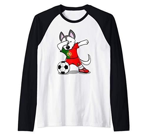 Dabbing Husky Dog Portogallo Calcio - Bandiera portoghese Maglia con Maniche Raglan