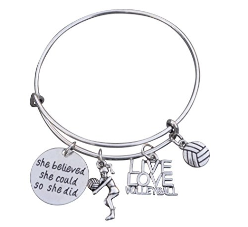 Volleyball Charm Bangle Bracelet-...