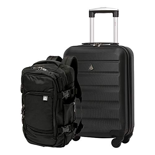 Aerolite Ryanair Max Cabin Luggage Bundle - 55x35x20cm ABS Hard Shell Carry On Suitcase for Priority Boarding + 40x20x25 Hand Luggage Backpack Holdall Black