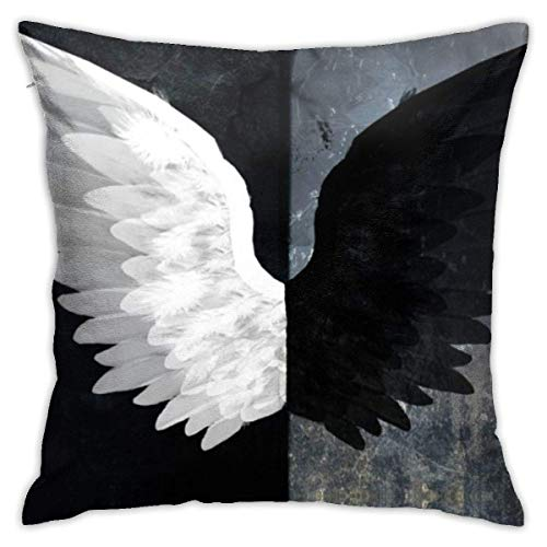 ChenZhuang Angel Black White Evil Wings Throw Pillow Covers Decorative Cotton Pillowcases for Sofa Couch Bed Soft Pillow