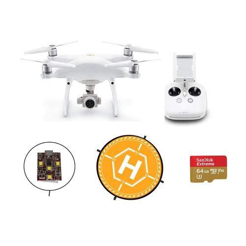DJI Phantom 4 Pro V2.0 Quadcopter Drone with Standard Remote Controller - with Basic Kit, 64GB MicroSDXC Card, 36' Foldable Landing Pad - Firehouse Technology ARC White Strobe