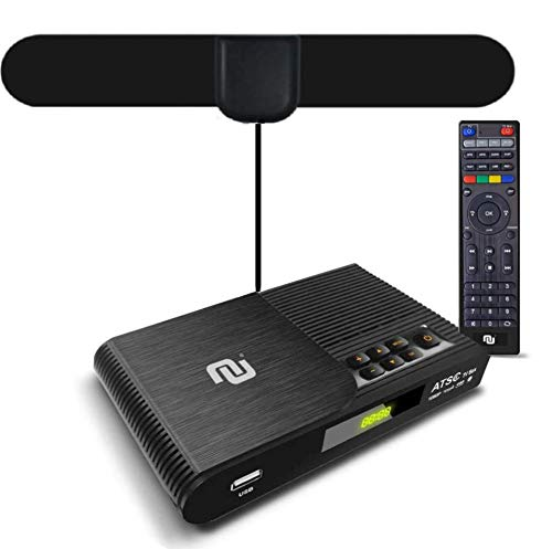 NUNET TV Converter Box Digital to Analog ATSC Streaming Media Players VHF/UHF HD TV Box PVR DVR Recorder w. 35 Miles Over The Air Antenna, Upgraded Remote w. TV Control Buttons (2020 version)