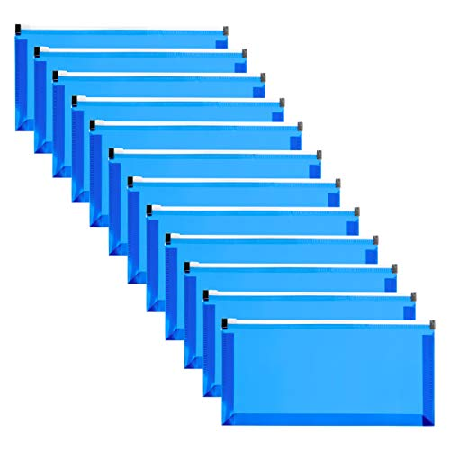 """FANWU 12 Pcs 5"""" x 10"""" A6 Size Plastic Envelopes with Zipper Closure Expandable Poly Zip Pouch Clear File Folder Bag for School and Office Supplies Storage (Blue)"""