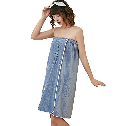 Semaxy ラップタオル 着るバスタオル 大人用 マイクロファイバー 可愛い ボデイタオル お風呂上がり 速乾 吸水 ずり落ちない 便利 プール 温泉 ジム エステ 80Cm*135Cm (ブルー)