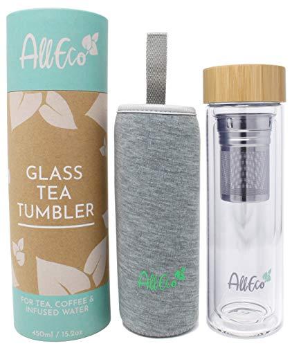 AllEco® Teeflasche mit Sieb to go 450ml Glas doppelwandig | Teebereiter, Teebecher, Teekanne ideal als Tee Geschenkset | nachhaltig, wiederverwendbar & umweltfreundlich