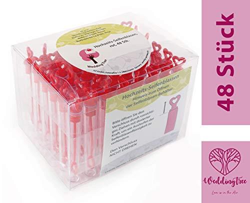 WeddingTree 48 Pompas de Jabon Boda Rojas - Pomperos Boda - con Mango en Forma de Corazón para Bodas, Bautizos, Cumpleaños, San Valentín u Otras Celebraciones