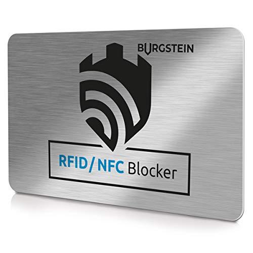 Burgstein® | RFID Blocker Karte NFC Schutzkarte - Störsender-Technologie 2020 - zum Schutz vor Datendiebstahl - extra dünne Karte geeignet für Jede Geldbörse - Kartenschutz | NFC Schutz