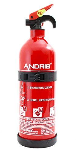 Orig. ANDRIS® Feuerlöscher 1kg ABC Pulver Auto-Aufladelöscher mit KFZ/Boot Halterung EN3 Orig. ANDRIS® inkl. Prüfnachweis mit Jahresmarke & Orig. ANDRIS® ISO Symbolschild