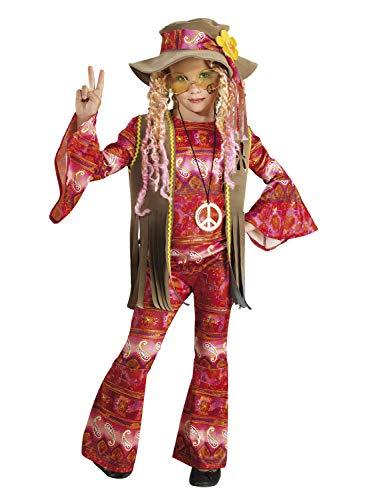 chiber Disfraces Disfraz de Hippie Flower Power para Niña (Talla 8 (6-8 años))