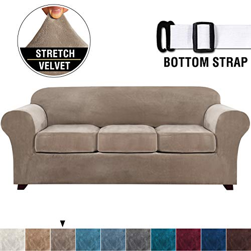 4 Pieces Sofa Covers Stretch Velvet Couch Covers for 3 Cushion Sofa Slipcovers Thick Soft Sofa Slip...