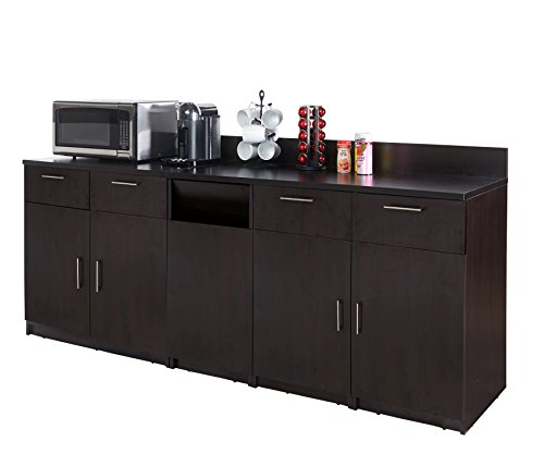 Coffee Kitchen Lunch Break Room Cabinets Model 4510 BREAKTIME 3 Piece Group Color Espresso - Factory Assembled (NOT RTA) Furniture Items ONLY.