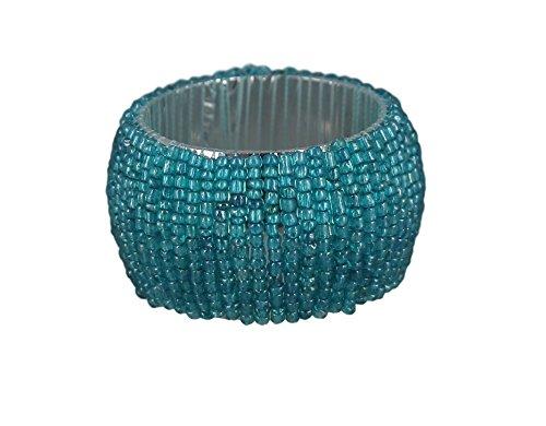 ShalinIndia Handmade Beaded Napkin Rings Set With 4 Turquoise Glass Beaded Napkin Holders - 1.5 Inch in Size