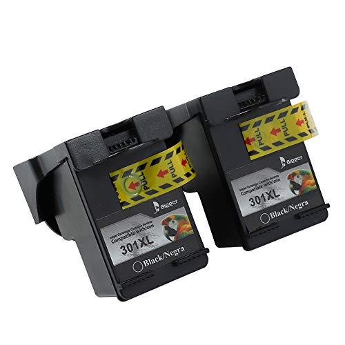 BIGGER Cartucce d'inchiostro rigenerate per cartucce d'inchiostro HP 301XL compatibili con HP DeskJet 1000 1050 1510 2050 3000 3050, HP ENVY 4500 5530, HP OfficeJet 2620 4630 (2 Nero)